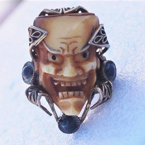 Florenza Smiling Devil Monster Face Scarab Ring